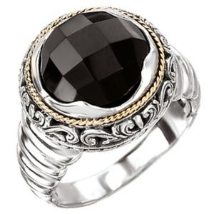 Black Onyx Sterling Silver Ring 18kt Yellow Gold